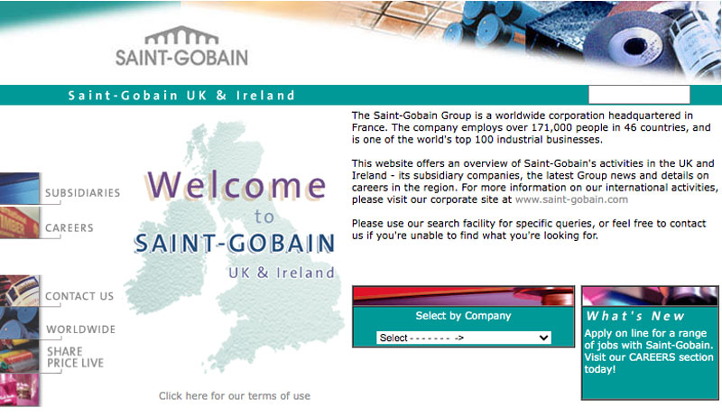 Saint-Gobain UK website, 2001